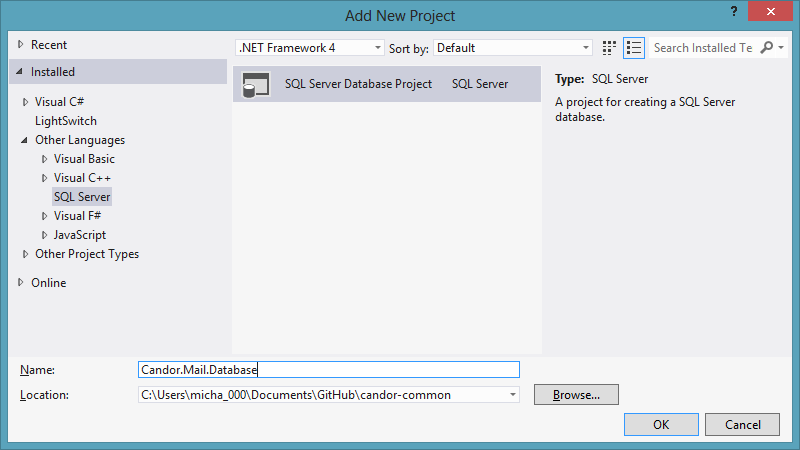 Creating a sql server database project in visual studio 2012 createdbproj 01 addprojectdialog ccuart Image collections